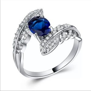New Hot Silver Marquise Cut Women's Sapphire Ring